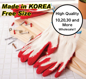Red Latex Rubber Glove Palm Coated Work Safety High Quality made In Korea