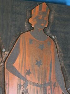Antique Copper Printing Block Wwi Era Miss Liberty Gown With Stars