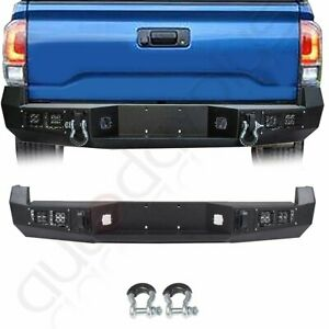For Toyota Tacoma 2005 2015 Rear Bumper Steel Textured Led Lights Guard
