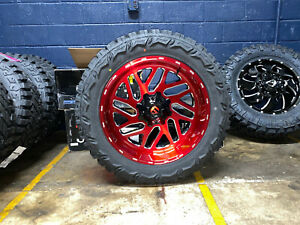 22x10 Fuel D691 Triton Red Wheels Rims 35 Mt Tires 8x180 Chevy Silverado 2500