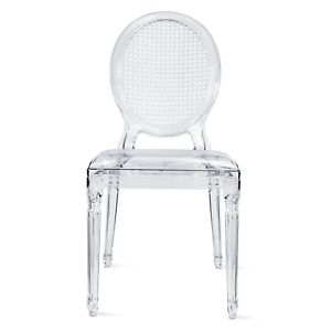 Stackable Transparent Molded With Oval Back Armless Side Dining Chair