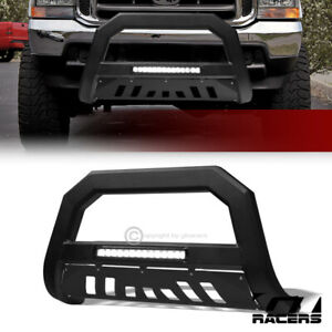 For 1999 2004 Ford F250 F350 Excursion Matte Blk Avt Aluminum Led Bull Bar Guard