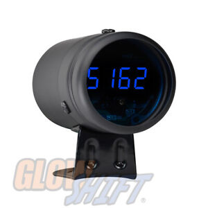 Black Digital Tachometer Blue Led Shift Light