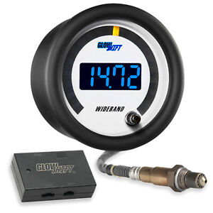 52mm Glowshift White Face Wideband Air Fuel Afr Ratio Gauge W Data Logging