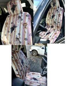 Set Of 2 Sphynx Cat Car Front Seat Cover Upholstery Soft Cozy Skin Paw Print