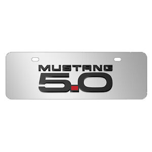 Ford Mustang 5 0 3d Logo Chrome 12 x4 Half size Stainless Steel License Plate