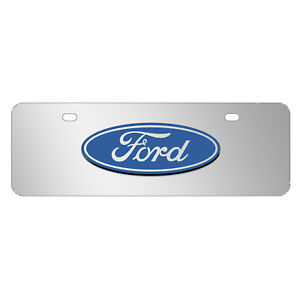 Ford 3d Logo On Chrome 12 x4 Half size Stainless Steel License Plate