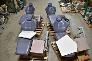 Lot Of 4 Blue gray Dexta Dental Exam Chairs W Side Delivery System Units
