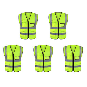 5x Classic Two Tones Xl Safety Vest Ansi isea 107 Class 2 w 5 Photo Id Pocket
