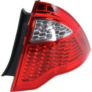 Halogen Tail Light For 2010 2012 Ford Fusion Right Clear Red Lens