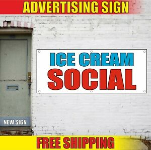 Ice Cream Banner Advertising Vinyl Sign Flag Milk Shakes Smoother Coffee Social