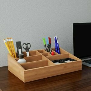 Wooden Bamboo Desk Office Storage Tray Beauty Products Make Up Organizer Holder
