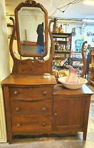 Antique Oak Vanity Dresser With Mirror
