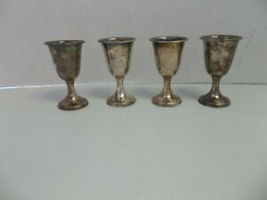 Vintage Lot Of 4 Sterling Silver 950 Wine Chalice Communion 40 1 Grams 3 Cups