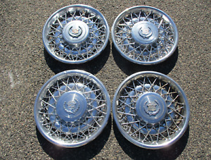 1975 To 1979 Cadillac Seville Fleetwood Wire Spoke 15 Inch Hubcaps Wheel Covers
