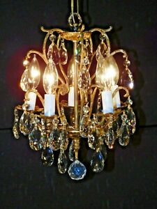 Antique French 5 Lite Rococo Brass Bronze Cut Lead Crystal Birdcage Chandelier