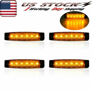 4x Led Marker Clearance Lights Amber Side Truck Trailer Light Bar
