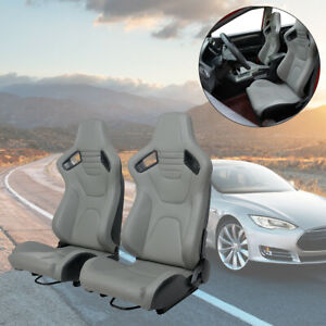 2pcs Universal Racing Seats Pu Leather Recline W 2 Slider Bucket Seat Black