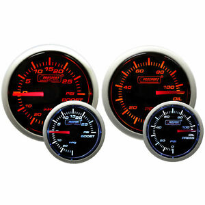 Prosport 52mm Mechanical Boost Electronic Oil Pressure Gauge Amber White