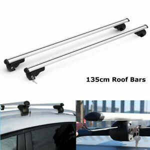 Adjustable 53 Car Truck Top Silver Aluminum Cross Bar Roof Cargo Luggage Rack