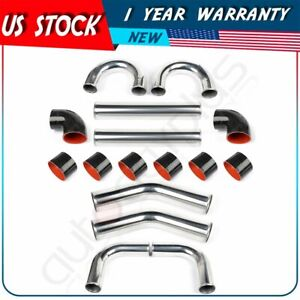 4 Universal 8pcs Intercooler Turbo Pipe Piping Silicone Hose T Clamp Kit