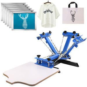 4 Color 1 Station Silk Screen Printing Machine 6 Pcs 110 Mesh T shirt Press Kit