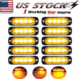10x Amber Led Flash Strobe Lights Emergency Light For Jeep Truck Suv Grill Roof