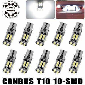 10x Cool White T10 Led Canbus 10smd Wedge Dome Interior Light Bulbs 194 192 921