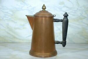 Antique Rochester Works 2 Pt Primitave Coper Coffee Pot With Wooden Handle