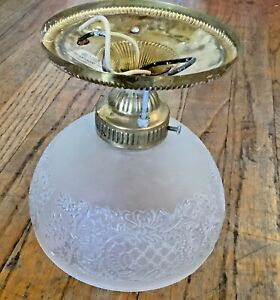 Vintage Mid Century Etched Glass Brass Flush Mount Ceiling Light Fixture Shade