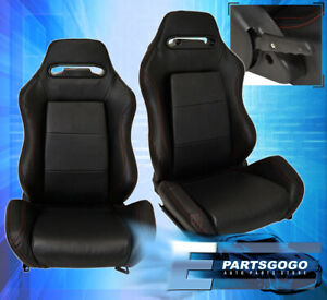 Reclinable Universal Bucket Seats Chairs Car Automotive Race Rail Sliders Black