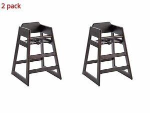 Wooden High Chair Stackable Restaurant Seat Baby Toddler Black Finish 2 Pack