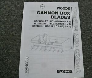 Woods Hd24480hxd Hd24496hxd 4x4 Gannon Box Blade Owner Operator Manual