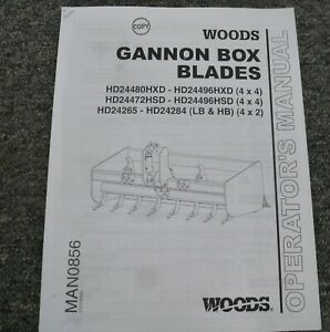 Woods Hd24472hsd Hd24496hsd 4x4 Gannon Box Blade Owner Operator Manual