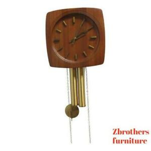 Vintage Mid Century Danish Modern Teak Brass Weight Driven Wall Clock