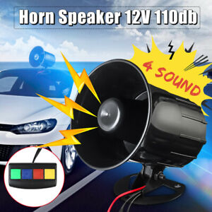 4 Sound Car Warning Alarm Police Fire Siren Horn Loud Tone Speaker 110db 30w