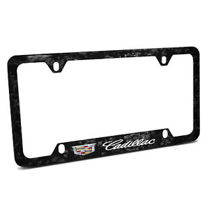 Cadillac Crest Logo Real Black Forged Carbon Fiber 50 States License Plate Frame