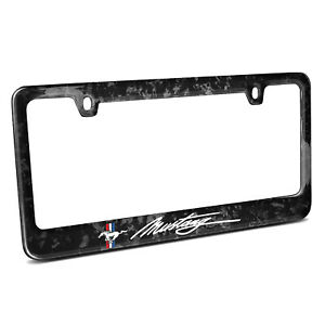 Ford Mustang Pony And Script Real Black Forged Carbon Fiber License Plate Frame
