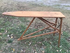 Folding All Wood Ironing Board Primitive Antique Vintage Wooden Table Farm