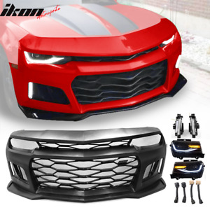 Fits 10 13 Chevy Camaro Zl1 Style Front Bumper Cover Head Lamps Drl Lights