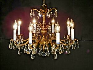 Antique French 8 Arm 8 Lite Stunning Stately Cut Lead Crystal Chandelier