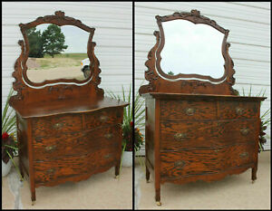 Antique Oak Fancy Serpentine Front Dresser Orig Finish Phoenix Scroll Carving