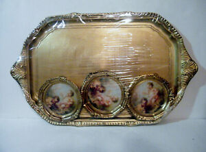 Gold Italian Florentine Toleware Tray With 6 Matching Toleware Coasters Sealed