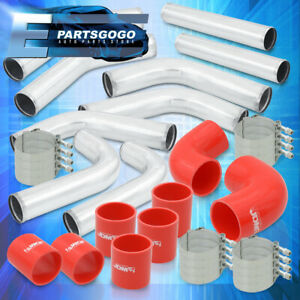 Universal 3 Turbo Piping Kit Chrome Aluminum Mandrel Bends Clamps red Couplers