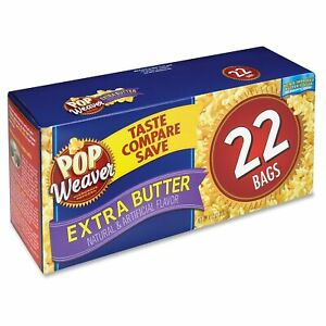 Pop Weaver Microwave Popcorn Extra Butter 2 5oz Bag 22 box