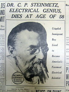 1923 Newspaper With Death Of Dr Charles Steinmetz Electrical Engineer Inventor
