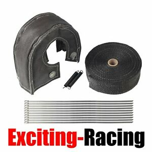 T3 Turbo Heat Shield Blanket Cover 2 50ft Exhaust Header Wrap Tape Black