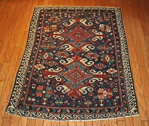An Exceptional Antique Hand Knotted Seichur Kuba Caucasian Rug 50 X 62