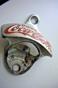 COCA  COLA  WALL MOUNTED BOTTLE OPENER MADE IN W. GERMANY +1 BOTTLE CAP GF $2.50
