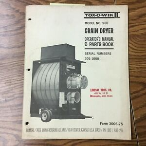 Gt 960 Grain Dryer Operation Maintenance Manual Parts Book Guide Gilmore Tatge